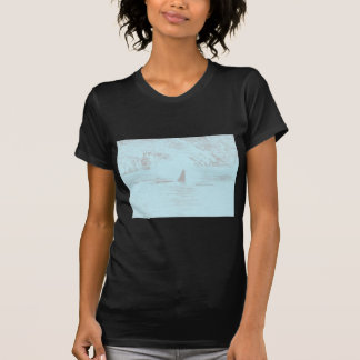 Orca Whale Swimming Drawing Turquoise Lavender Tshirts