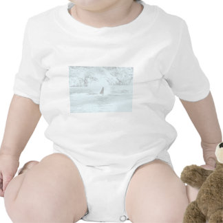 Orca Whale Swimming Drawing Turquoise Lavender Baby Bodysuits