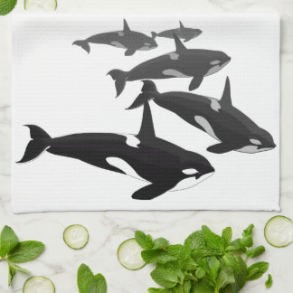 Orca Whale Towel Killer Whale Dish Towels & Decor