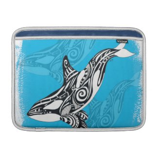 Orca Whale Tribal Art Blue MacBook Air Sleeve