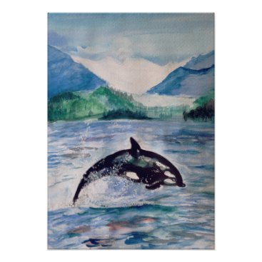 Art Themed Orca, Whale watercolor drawing Value Poster