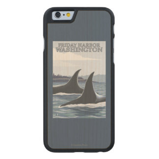 Orca Whales #1 - Friday Harbor, Washington Carved Maple iPhone 6 Slim Case