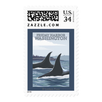 Orca Whales #1 - Friday Harbor, Washington Postage Stamp