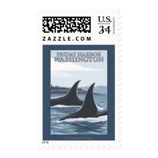 Orca Whales #1 - Friday Harbor, Washington Postage Stamps