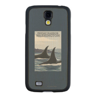 Orca Whales #1 - Friday Harbor, Washington Carved® Maple Galaxy S4 Slim Case