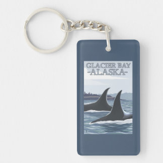 Orca Whales #1 - Glacier Bay, Alaska Double-Sided Rectangular Acrylic Keychain