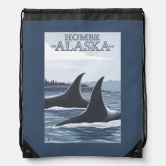 Orca Whales #1 - Homer, Alaska Drawstring Bag