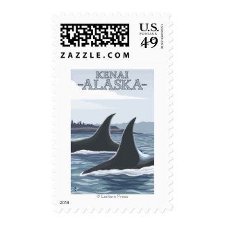 Orca Whales #1 - Kenai, Alaska Postage Stamp