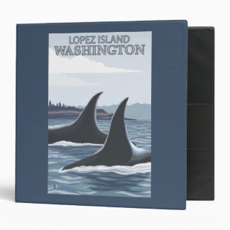 Orca Whales #1 - Lopez, Washington 3 Ring Binder