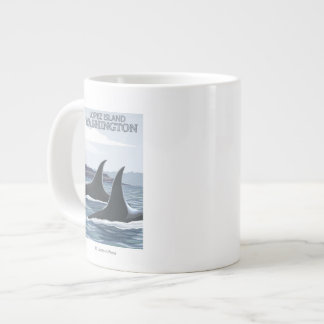 Orca Whales #1 - Lopez, Washington Large Coffee Mug