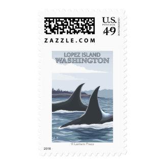 Orca Whales #1 - Lopez, Washington Postage Stamp