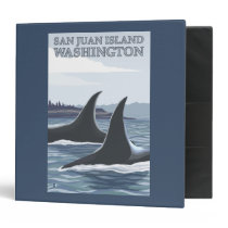 Orca Whales #1 - San Juan Island, Washington 3 Ring Binder