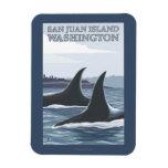 Orca Whales #1 - San Juan Island, Washington Rectangular Photo Magnet