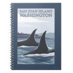 Orca Whales #1 - San Juan Island, Washington Spiral Note Book