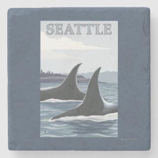 Orca Whales #1 - Seattle, Washington Stone Coaster
