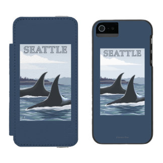 Orca Whales #1 - Seattle, Washington Wallet Case For iPhone SE/5/5s