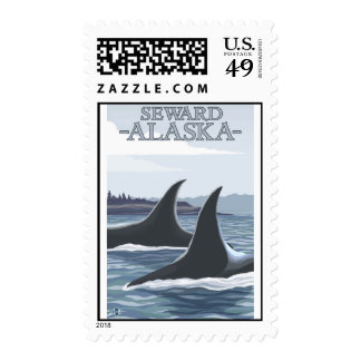 Orca Whales #1 - Seward, Alaska Postage Stamps