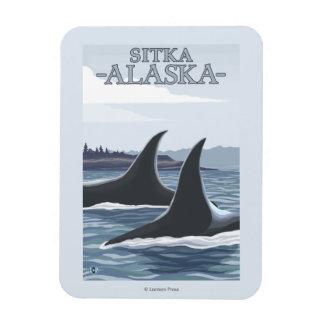 Orca Whales #1 - Sitka, Alaska Rectangular Photo Magnet
