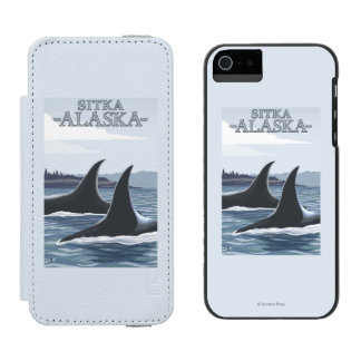 Orca Whales #1 - Sitka, Alaska Wallet Case For iPhone SE/5/5s