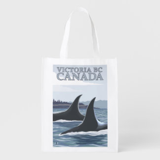 Orca Whales #1 - Victoria, BC Canada Reusable Grocery Bag