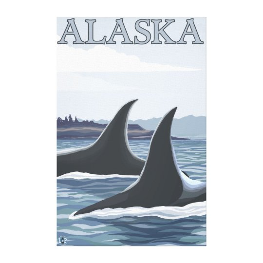Orca Whales #1- Vintage Travel Poster Canvas Print