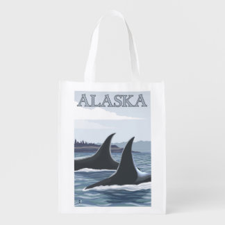 Orca Whales #1- Vintage Travel Poster Grocery Bag