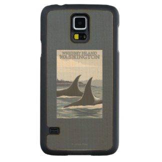 Orca Whales #1 - Whidbey, Washington Carved Maple Galaxy S5 Case