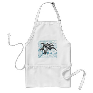 Orca  whales ancient blue adult apron