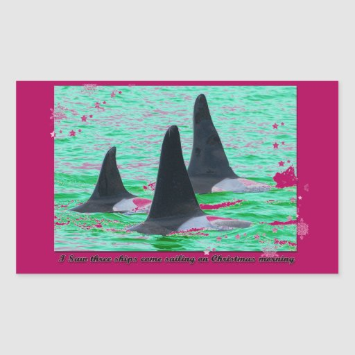 Orca Whales Come Sailing on Christmas Day Holiday Rectangular Sticker