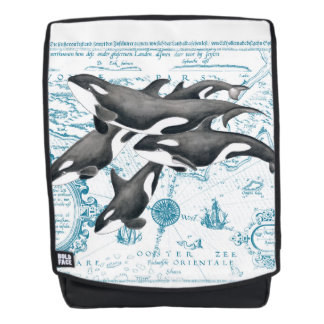 Orca whales family ancient blue backpack