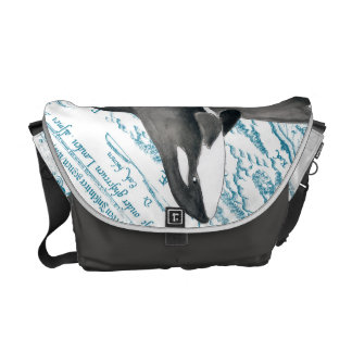 Orca whales family ancient blue courier bag