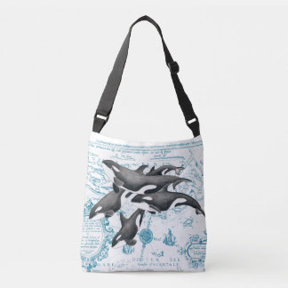 Orca whales family ancient blue crossbody bag