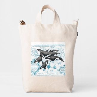 Orca whales family ancient blue duck bag