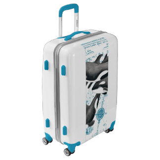 Orca whales family ancient blue luggage