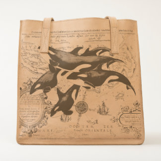 Orca whales family ancient blue tote