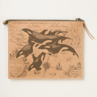 Orca whales family ancient blue travel pouch