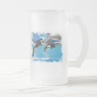 Orca Whales Frosted Beer Mug