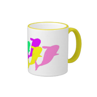orca whales in multicolor coffee mugs
