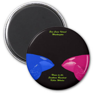 Orca Whales Nose to Nose 2 Inch Round Magnet
