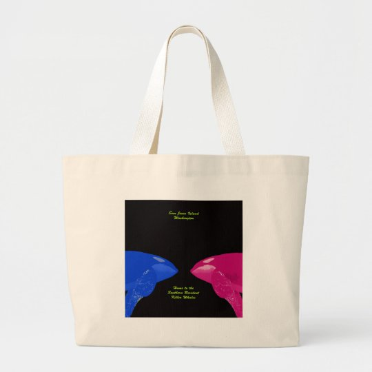 Orca Whales Nose to Nose Large Tote Bag
