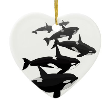 Christmas Themed Orca Whales Ornament Personalized Whale Ornament