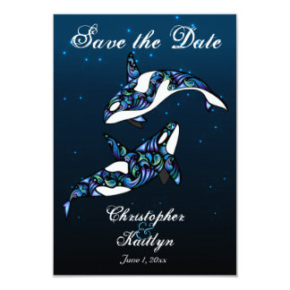 Orca Whales Save the Date Wedding Announcement