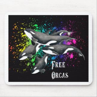 Orca Whales Watercolor Splash Black Mouse Pad
