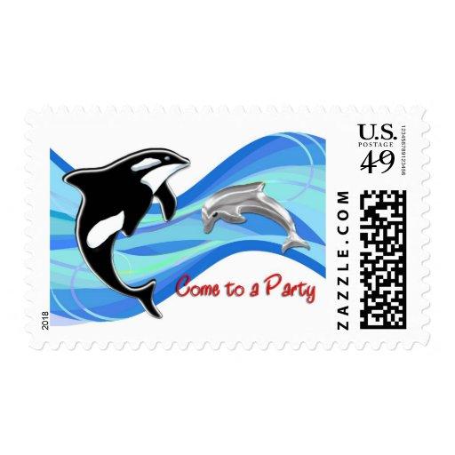 Orca y delfín en la invitación de las ondas