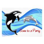 Orca y delfín en las ondas invitaciones personalizada