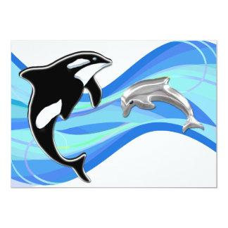 """Orca y delfín en las ondas invitación 5"""" x 7"""""""