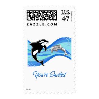 Orca y delfín en las ondas le invitan estampilla