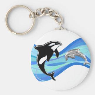 Orca y delfín en las ondas llavero personalizado