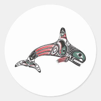 Orca y Eagle del Tlingit Pegatina Redonda