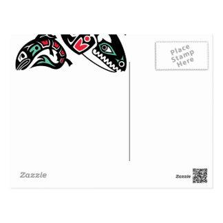 Orca y salmones - gráfico de la orca de color del tarjeta postal